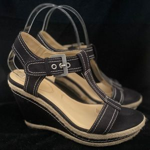 Bass Raina Black Fabric Espadrille Heel Sandal 7.5